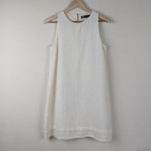 Zara Cotton Linen Blend Shift Dress in Cream XS